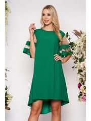 Rochie verde eleganta asimetrica cu croi larg din material subtire cu maneci scurte