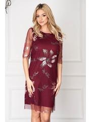 Rochie visinie eleganta scurta din voal cu un croi drept si imprimeuri florale
