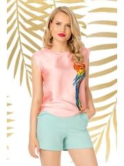 Top PrettyGirl roz prafuit casual cu croi larg material subtire cu imprimeuri grafice