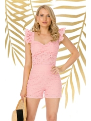 Top PrettyGirl roz prafuit casual mulat din bumbac neelastic cu decolteu adanc cu volanase la maneca