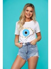 Tricou SunShine alb casual cu croi larg si imprimeuri grafice