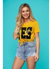 Tricou SunShine galben casual scurt cu croi larg si aplicatii cu paiete
