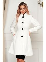 Palton Artista alb elegant scurt in clos din stofa neelastica cu umerii buretati captusit pe interior