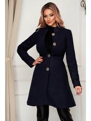 Palton Artista albastru-inchis elegant din stofa in clos cu buzunare captusit pe interior