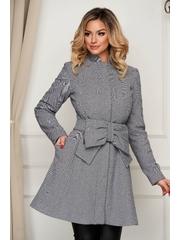 Palton Artista gri elegant in clos accesorizat cu cordon cu buzunare