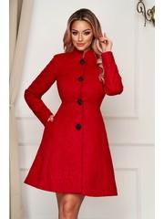 Palton Artista rosu elegant scurt in clos din stofa neelastica cu umerii buretati captusit pe interior