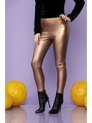 Colanti SunShine maro de party din imitatie de piele elastica si lucioasa cu elastic in talie