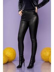 Colanti SunShine negri de party din imitatie de piele elastica si lucioasa cu elastic in talie