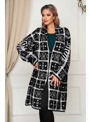Cardigan SunShine negru elegant lung din lana si angora cu croi larg