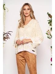 Pulover crem scurt casual cu croi larg din material tricotat cu decolteu in v cu aplicatii cu paiete