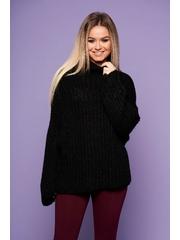 Pulover SunShine negru cu croi larg din material tricotat cu maneci lungi