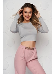 Bluza cropped dama SunShine gri din material elastic