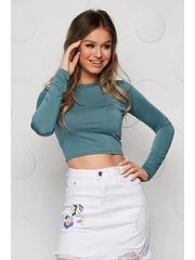 Bluza cropped dama SunShine verde din material elastic