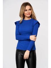 Bluza dama albastra casual din bumbac reiat cu maneci incretite in partea de sus