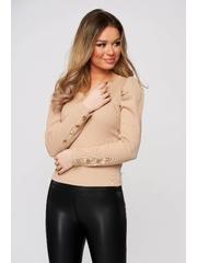 Bluza dama crem mulata din material reiat cu decolteu in v si umeri cu volum