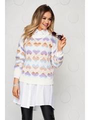 Bluza dama ivoire casual tricotata cu croi larg cu imprimeuri grafice