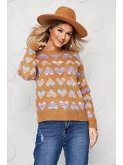 Bluza dama maro casual tricotata cu croi larg cu imprimeuri grafice