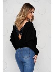 Bluza dama neagra casual din tricot reiat elastic si fin cu croi larg accesorizata cu o fundita