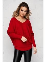 Bluza dama rosie casual din tricot reiat elastic si fin cu croi larg accesorizata cu o fundita