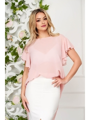Bluza dama StarShinerS roz prafuit eleganta din voal cu croi larg cu maneca scurta si volanase