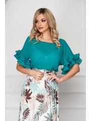 Bluza dama StarShinerS verde office din material subtire cu croi si maneci largi