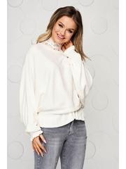 Bluza dama SunShine alba casual din tricot reiat elastic si fin cu volanase