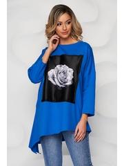 Bluza dama SunShine albastra din bumbac cu imprimeuri grafice cu pietre strass