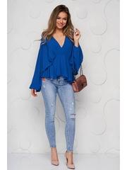 Bluza dama SunShine albastra din voal cu decolteu adanc cu elastic in talie