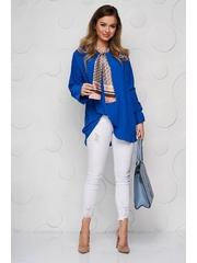 Bluza dama SunShine albastra office cu croi larg plisata cu guler tip esarfa