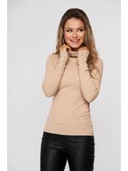 Bluza dama SunShine crem din bumbac din material reiat cu aplicatii cu pietre strass