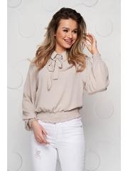 Bluza dama SunShine crem din voal cu elastic in talie si guler tip esarfa