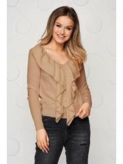 Bluza dama SunShine crem tricotata si reiata cu aplicatii cu margele