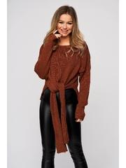 Bluza dama SunShine maro casual din material elastic si fin reiat cu nod rasucit in talie