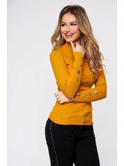 Bluza dama SunShine mustarie din bumbac elastic reiat cu un croi mulat accesorizata cu nasturi