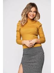 Bluza dama SunShine mustarie mulata scurta pe gat din material reiat cu umeri cu volum
