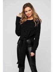 Bluza dama SunShine neagra casual din material elastic si fin reiat cu nod rasucit in talie