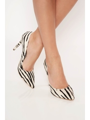 Pantofi alb animal print eleganti din piele naturala cu toc inalt si varful usor ascutit