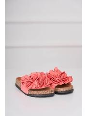 Papuci corai casual din material catifelat cu talpa joasa