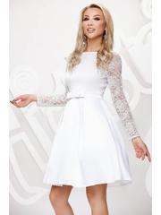 Artista rochie alba scurta in clos de ocazie maneci transparente