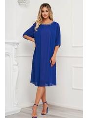 Rochie albastra midi cu croi larg din voal cu aplicatii cu pietre strass la gat