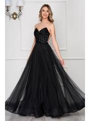 Rochie Ana Radu neagra de lux tip corset din tul captusita pe interior cu pietre strass de ocazie