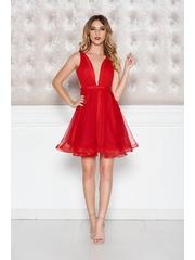 Rochie Ana Radu rosie de lux in clos captusita pe interior cu decolteu accesorizata cu cordon cu tul