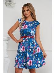 Rochie eleganta midi in clos din material usor elastic cu imprimeu floral