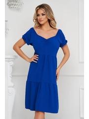 Rochie Lady Pandora albastra midi cu croi larg din material subtire pe umeri