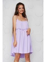 Rochie lila din material vaporos si subtire cu croi larg cu bretele si decolteu rotunjit