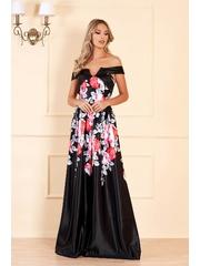 Rochie neagra lunga de seara cu decolteu adanc si imprimeuri florale
