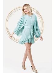 Rochie PrettyGirl mint eleganta scurta in clos din material vaporos cu maneci ample