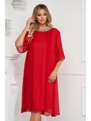 Rochie rosie midi cu croi larg din voal cu aplicatii cu pietre strass la gat