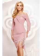 Rochie roz prafuit Artista scurta asimetrica de ocazie din material elastic cu franjuri pe umeri