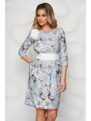 Rochie StarShinerS albastru-deschis eleganta midi cu imprimeu floral si decolteu rotunjit